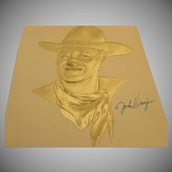 John Wayne hand signed gold embossed picture 9 X 11 unframed hung in the famous Brown Derby Restaurant