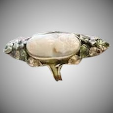 Antique Victorian Hand Carved Cameo 14 K yellow, Rose and Green Gold Ring