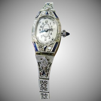 14K White Gold Art Deco 1920's Filigree Ladies Watch