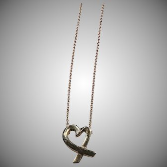 18K Yellow Gold Tiffany & Co. Loving Heart Necklace 16 inch.