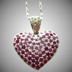 14K White Gold Pink Sapphire Heart with 18 inch Chain