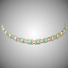 "Vintage Sterling Silver & turquoise Handmade Belt Mexico 1940""s"