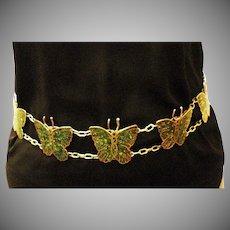 Sterling Silver & Malachite Butterfly Vintage Belt 396 grams of Beauty!