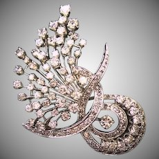 14 K White Gold Vintage 1940's Diamond Brooch and Pendant