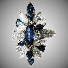 14 K White Gold Vintage Diamond & Sapphire Cocktail ring  Circa: 1960's.