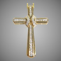 14 K yellow Gold & Diamond Cross