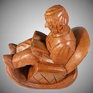 Vintage Hand wood Carved Folk Art  figure by Famous Mexico Artist J. Pinal