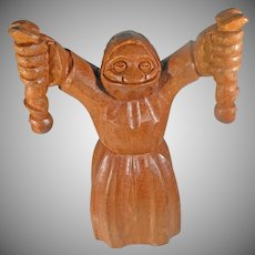 Vintage Hand carved wood Mexico  folk art figure of woman holding 2 twin figures by artist J. Pinal