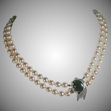 Vintage Double Strand of Honora Pearls 7mm.  Diamond and Jade Clasp