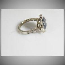 Vintage 14K Natural untreated Blue sapphire & Diamond ring
