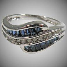 10K White Gold Sapphire & Diamond Ring