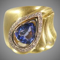 18K Yellow Gold Custom Handmade Tanzanite & Diamond Ring