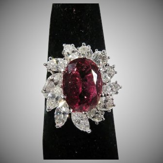 Platinum Vintage Custom Diamond & Oval Tourmaline Ring