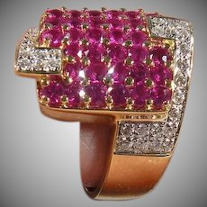 18K Yellow Gold Pave' Ruby & Diamond Wide Band Ring