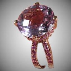 14 K Rose Gold Le Vian Vintage Amethyst & Pink Sapphire Ring