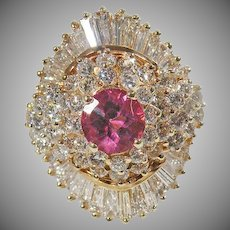 14 K Yellow Gold Pink Sapphire & Diamond Cluster Ring Approx. 5.60cttw.
