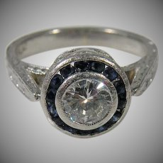 Platinum Art deco Diamond Ring With Sapphire accents 1.20cttw.