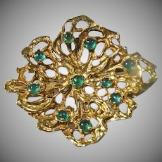14 K Yellow Gold Vintage Art Deco Brooch With Cabochon Emeralds.