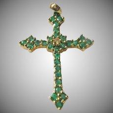 14 K Yellow Gold Emerald Cross