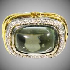 Fine 980 Silver & 18K Yellow Gold Vintage Designer Ring Signed Tycoon