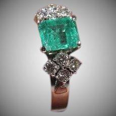 14 K White Gold Emerald & Diamond Ring