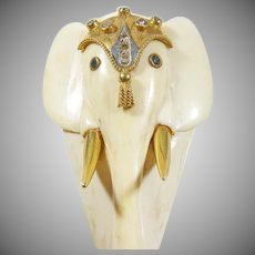 12K Vintage Ivory Colored Elephant Pendant with Diamonds & multi Gemstones.