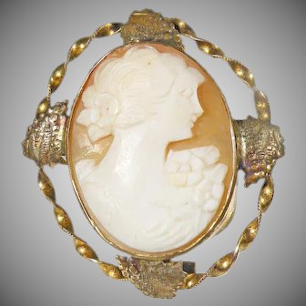 12 K Antique Victorian Hand carved Cameo Framed in (200)  12K Yellow & Rose Gold.