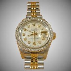 18K Yellow Gold & Stainless Ladies Rolex Date Just Watch Jubilee Bracelet Diamond Bezel
