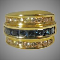 14 K Yellow Gold Diamond & Sapphire Cigar Band  2.10cttw.
