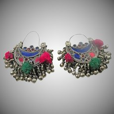 Sterling Vintage Earrings Dangle beads pom poms.  Colored Glass inlay