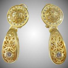 18 K Custom Vintage Drop Diamond Earrings, STUNNING!