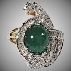 14 K Yellow Gold Emerald & Diamond Ring  1940's/1950's. 7.50CTTW.