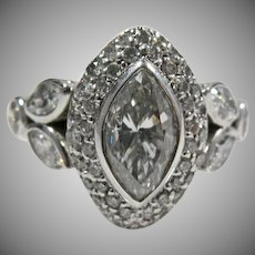 14 K White Gold Vintage Marquise Diamond Cocktail Ring Circa 1930/40's.  2.25cttw.