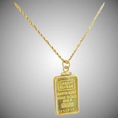 24 K 1/4 oz. Credit Suisse Gold Bar Pendant  999.9 fine Bezel set in 14K frame 20 inch Rope Chain Included.