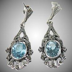 Sterling Silver Vintage Sky Blue Topaz & marquisette drop Earrings