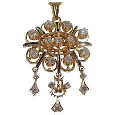 14 K yellow Gold Chandelier Diamond  drop Pendant Circa 1930/40's.