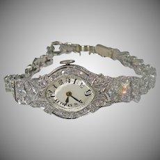 14K Art Deco Ladies Diamond watch. Approx. 1.50cttw.  1920/30's