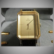 18K yellow gold Omega Deville Men's watch with black Lizard Band