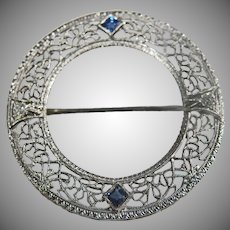14K White Gold Art Deco Filigree Diamond & Sapphire Brooch !920's 30's.