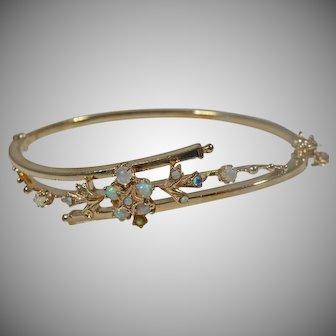 14 K Yellow Gold Australian Opal Bangle Bracelet
