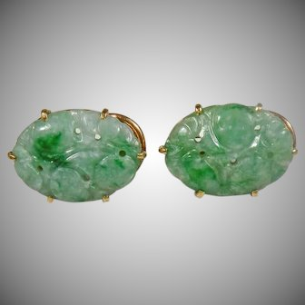 14 K Yellow Gold Green  Jadeite Hand Carved Vintage Earrings