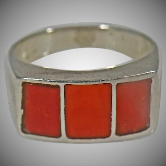Sterling Silver With 3 Red Coral Stones. Unisex.
