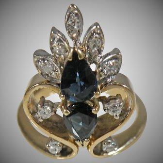 14 K Yellow gold/ White Gold Sapphire & Diamond Ring Circa 1930's.