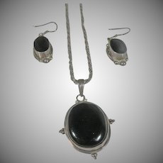 Vintage Taxco Mexico Sterling Siklver Black Onyx Pendant and Earrings Set.