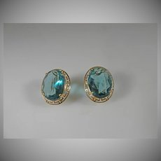 14 K Yellow Gold Vintage Sky Blue Topaz  Oval Earrings.