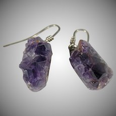 Vintage Sterling Silver Raw uncut Amethyst Earrings