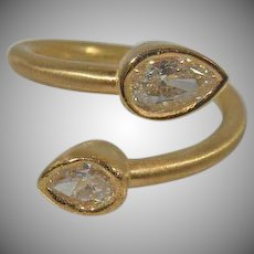 14 K Yellow Gold Custom Handmade Crossover Diamond Ring Approx. 1.00cttw.