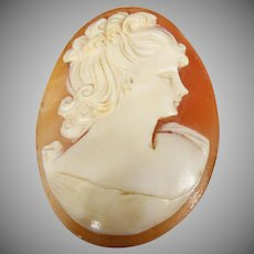 Vintage unset Italian hand-carved on conch shell cameo.