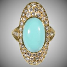 18 K Custom Persian Turquoise & Diamond Ring  Vintage