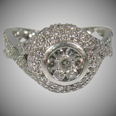 14K White Gold Ladies Pave' Halo Diamond Ring Approx. 2.00 Cttw..